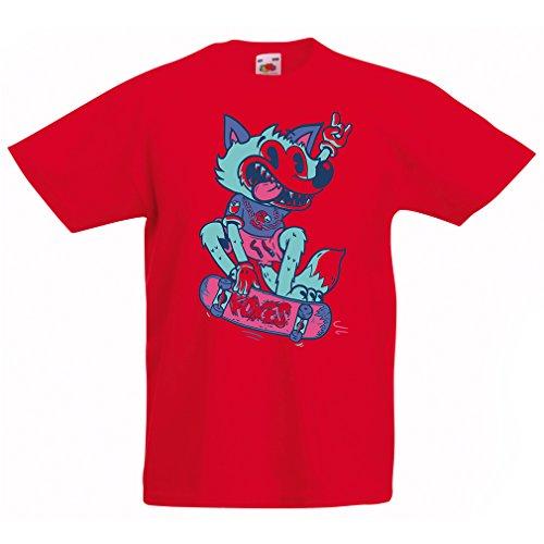 Kinder Jungen/Mädchen T-Shirt Skater Fuchs - Streetwear, Urban Bekleidung, Skateboard Bekleidung, Skate Ausrüstung (9-11 Years Rot Mehrfarben)