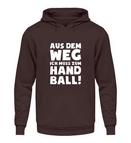 shirt-o-magic Handball-Fan: .muss zum Handball! - Unisex Kapuzenpullover Hoodie -XXL-Schokolade