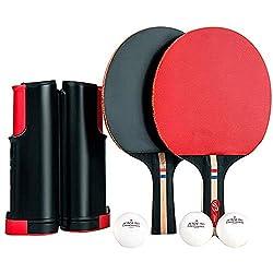 JEBOR 卓球ネット セット 卓球 ラケット 卓球台 (ラケット×2本 伸縮ネット ボール×3個) ハンドバッグ き アウトドア レジャー 職場で