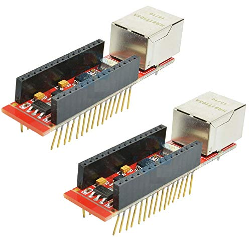 TECNOIOT 2pcs ENC28J60 Ethernet Shield HR911105A Shield Nano V3.0 RJ45 Webserver Module