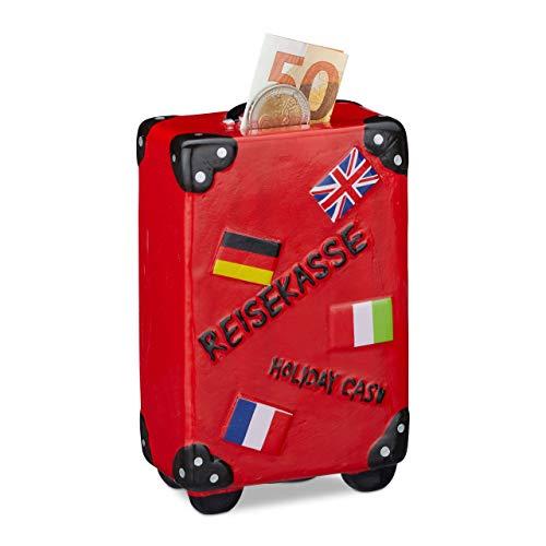 Relaxdays spaarpot vakantie, koffer, met vlaggen, vakantiekassa, reiskasse, spaarpot, HxBxD: 14,5 x 9,5 x 5 cm, rood