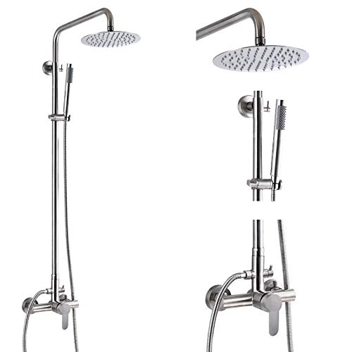 Outdoor Shower Faucet SUS304 Shower Fixture System Combo Set Rainfall Shower Head Single Handle High Pressure Hand Spray Wall Mount 2 Function Brushed Nickel 8 inch Rainfall Shower Head Kit