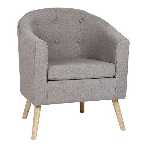 POPSPARK Sedia in Tessuto Poltrona Sedia da Pranzo con Braccioli e Schienale per Soggiorno Camera da Letto e Hotel (Grigio Fumo)