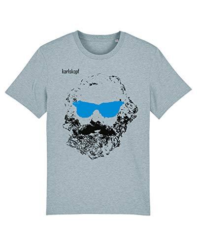 karlskopf | Cooles T-Shirt für Herren mit Motiv | Tshirt Karl Marx | Tshirt mit Aufdruck Chiller | Größe L | In der Farbe Blau | Tshirt Herren mit geilem