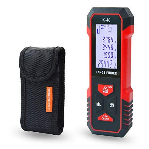 MAKINGTEC Laser Measure 131Ft M/Ft/In with Fraction Mode,Digital Laser Tape Measure Mute Function Large LCD Backlight Display,Pythagorean Mode Area Volume Distance Measure Laser Measuring Device K-40