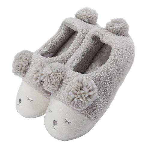 LANFIRE Damen Mädchen Schaf Warme Plüsch Schuhe Weiche Sohle Indoor Home Fuzzy Lamm Hausschuhe Tier Cartoon Hausschuhe (40-41 EU, Grey(Shoes))