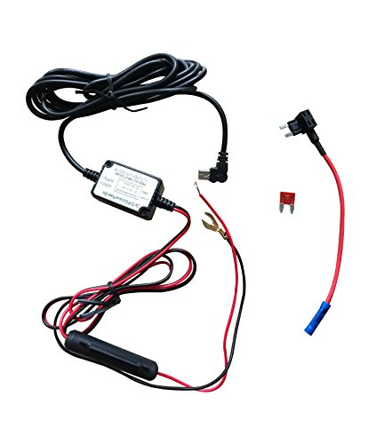 Dash Camera Hard Wire Kit- Mini USB Dash Cam 10 Foot Hardwire and Fuse Kit for Dash Camera Power Supply Car Charger GPS Car DVR Power Box (Left Angle Mini USB And Fuse Kit)