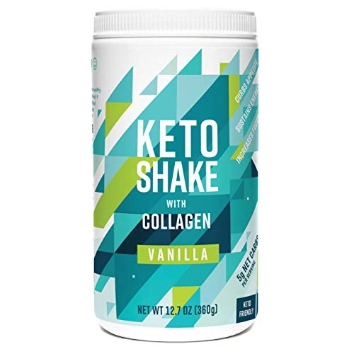 360 Nutrition Keto Protein Powder - Keto Shake Vanilla Flavor 12.7 oz - Grass Fed Collagen Peptides, MCT Oil, Low Carb Meal Replacement