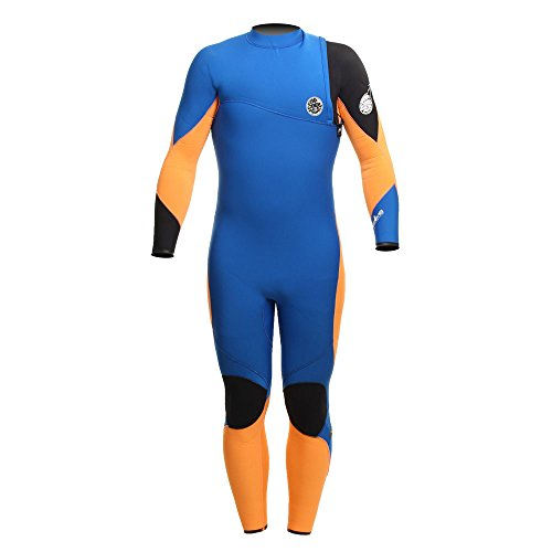 RIP CURL Flash Bomb 5/3mm Junior Zip Free Wetsuit Blue/Fluro Orange WSM4BN Age/Size - 14 Years
