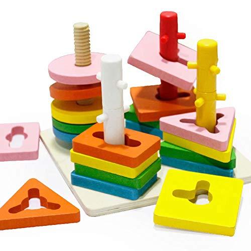 Jouets éducatifs en bois, Blocs de superposition pour enfants d'âge préscolaire, en forme de couleur de bois, jouets pour tout-petits, cadeaux d'anniversaire pour garçons et filles 1 2 3 ans