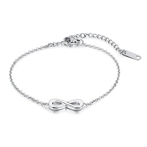 bigshopDE Edelstahl Silber Armband Edelstahl Unendlichkeit Design Damen Geschenk Liebe Armkette