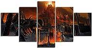 MIETLI Canvas 5 Pcs Fantasy Art Hd Skeleton Skull Image Doom Eternal Game Poster Artwork Canvas Pain...