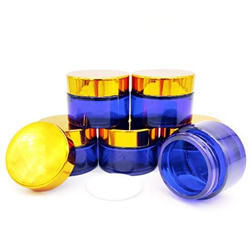 6Stk 30ml Cremedose Leer,Blau Glas Flasche Leere mit Deckelfür Kosmetik Cremes Lotionen ätherische Öle Pulver