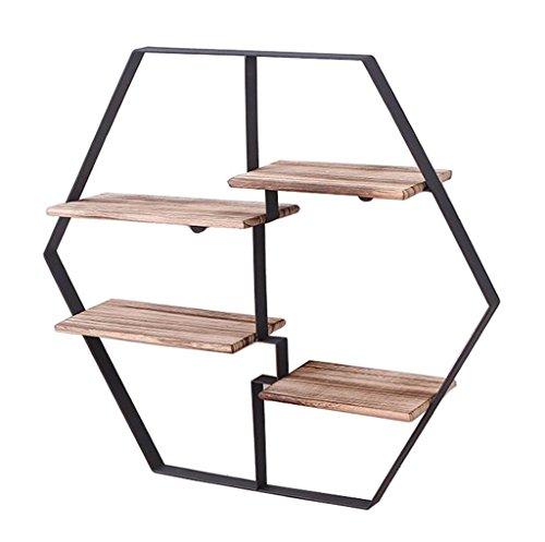 YLongFEI Blumenständer Hallwayplant Ständer Retro Hexagon Metall-Regal-Wand Lagerung Display Unit...
