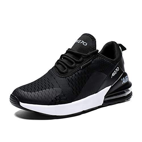 Rotok Herren Damen Sportschuhe Straßenlaufschuhe Sneaker Leichtgewichts Turnschuhe Outdoor Laufschuhe Atmungsaktive Fitness Schuhe, Schwarz-270, 45 EU