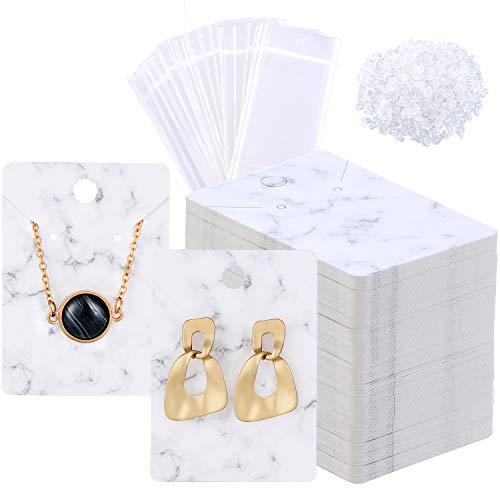 800 Pieces Marble Earring Necklace Display Card Holder Set 200 Pieces Jewelry Display Cards Kraft Paper Tags 400 Pieces Earring Backs 200 Pieces Self-Seal Bags for Jewelry Packing 2 x 2.8 Inch