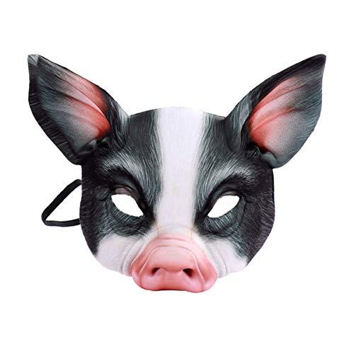 Toyvian Schwein Maske Halb Gesicht Tiermaske Augenmaske Maskerade Masken Party Schwein Cosplay Kostüm (Schwarz)