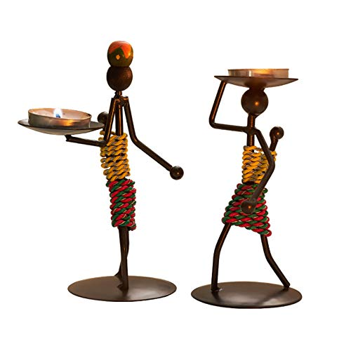 JOUDOO African Figurine Candle Holder, Set of 2 Iron Ethnic Vintage Style Tea Light Holders Statue Decor Collectible, Black