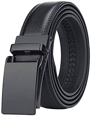"Men's Comfort Genuine Leather Ratchet Dress Belt with Automatic Click Buckle (Suit Pant Size 28""-44"", Style 2 -Black)"
