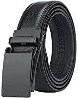 Men's Comfort Genuine Leather Ratchet Dress Belt with Automatic Click Buckle (Suit Pant Size 28