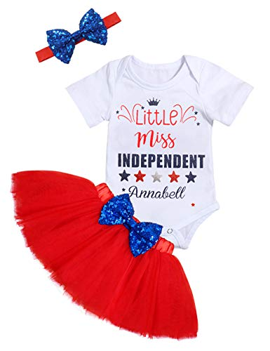 Newborn Baby Girls Clothes Little Miss Independent Bodysuit Top Bow Tutu Dress with Headband Infant...