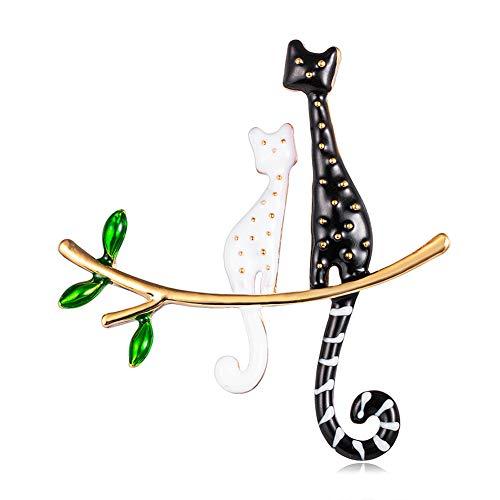 shengyaju Süße Katzen-Brosche, weiß, schwarz, Ölbohrer, Katzen-Brosche, Brustnadel, Kleidung, Ornament für Frauen und Mädchen