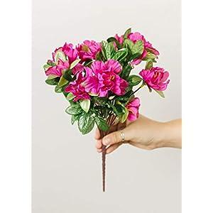 "Silk Flower Arrangements Allstate Azalea Silk Flowers Bush in Fuchsia - 13"""