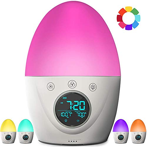 ZHANG wekker, kinderwekker, slaaptrainer, 7 kleuren nachtlampje & wake-up licht, timer voor slaap
