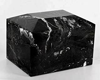 Khan Imports Black Marble Urn Vault for Ashes, Adult Stone Cremation Urn Box - Large