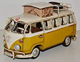 JS GartenDeko Blechauto Nostalgie Modellauto Oldtimer Automarke VW Bulli Modell T1 Campingbus 1950er Jahre aus Blech L 25 cm