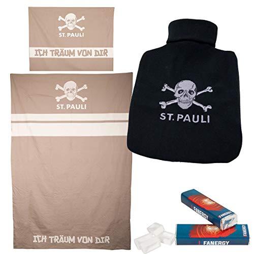 FC St. Pauli Set Bettwäsche 135 x 200 Totenkopf Grau Weiß + Wärmflasche Totenkopf schwarz + Fanergy Traubenzucker