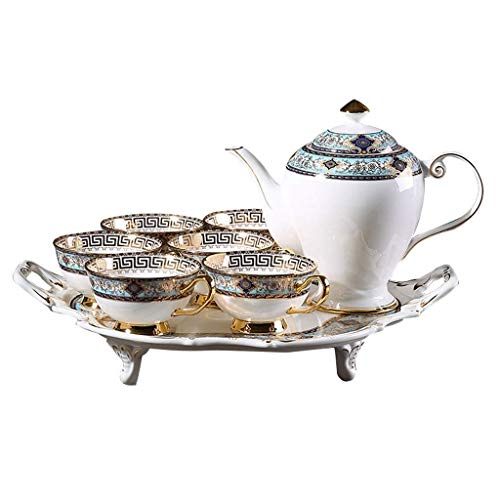 Palace European Bone China Coffee Set Model Room Decoration Ornament Afternoon Tea Set With Tray 8 Piece