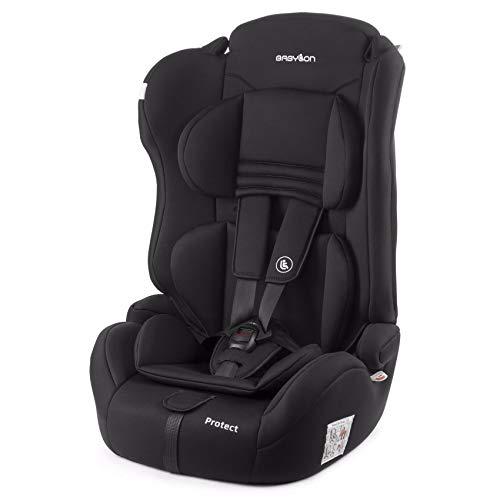 BABYLON Babysitz Auto Protect Autokindersitz Gruppe 1/2/3, Kindersitz 9-36 kg (1 bis 12 Jahren). Kindersitz mit Top Tether 5 Punkt Sicherheitsgurt. Autositz ECE R44/04 Schwarz