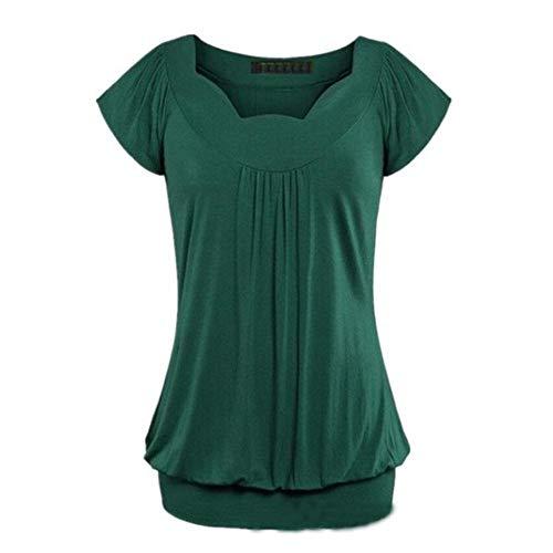 Shirt Donna Camicetta Donna Estiva Casual Moda Camicia Girocollo Pieghe Tinta Unita Estiva Nuova Elegante Tutto-Fiammifero Tops Donna E-Green XL