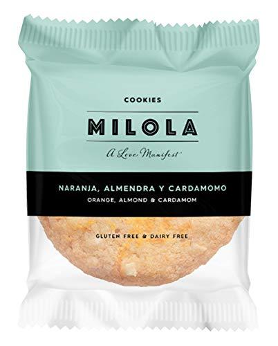 MILOLA Galletas Gluten Free. Pack 12 unidades - Sin Gluten, Sin Lácteos, Sin Gluten, Sin Aceite de Palma (ORANGE, ALMOND & CARDAMOM)