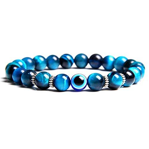 Pulsera De Piedra De Ojo De Tigre De Lava Tibetana Natural 8Mm para Hombres Mujeres Lucky Blue Griego Turco Diablo Mal De Ojo Pulsera Joyería Masculina