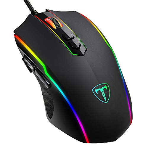 PICTEK Gaming Mouse Wired, 8 Programmable Buttons, Chroma RGB Backlit, 7200...