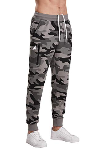 Extreme Pop Hombre Pantalones de chándal Militares de Camuflaje con Estampado Reflectante UK Brand (XL, Gris Camo)