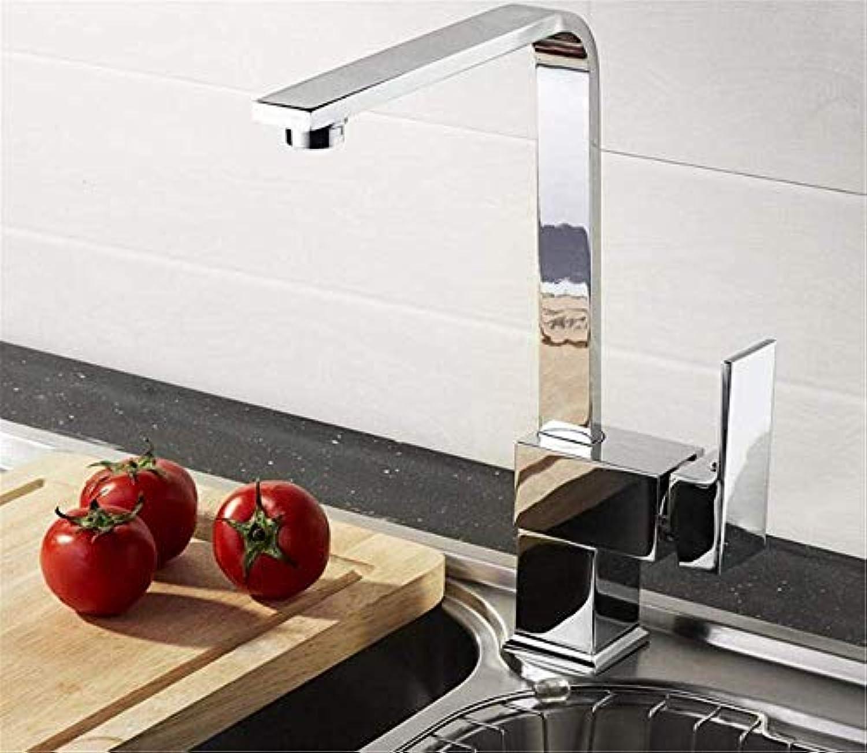 Kupfer Sieben-Form 360 Grad-Schwenker-Küchenarmatur mit Kalt- und Warmwassermischer Kitchen Sink Wasserhahn einzigen Griff verchromt poliert Bleifrei mit Belüfter
