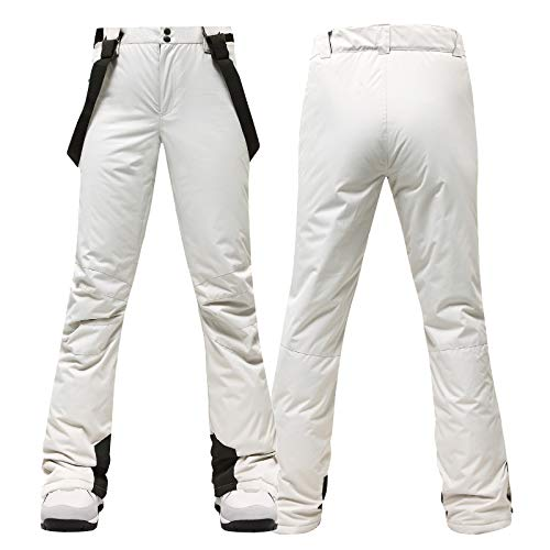 Womens Snow Pants Insulated Sweatpants Ski Bib Outdoor Waterproof Windproof Suspenders Breathable Trousers White