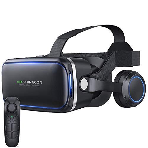 YFEI VR Brille 3D Headset Virtual Reality 3D VR Brille PC-Handy Mit Bluetooth-Griff Für 3D Filme Videospiele Kompatibel Mit 4,7-6,6 Zoll Smartphones