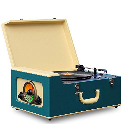 Pyle Vintage Turntable Record Player Bluetooth, CD, USB SD Recorder AM/FM Radio, Retro Vinyl Style | Built in Speakers & Remote PVTT15UBT, Classic Style