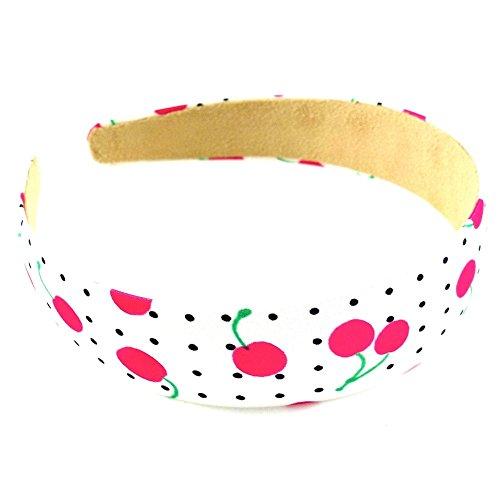 rougecaramel - Accessoires cheveux - Serre tête/headband large imprimé cerises largeur 3cm - fuchsia
