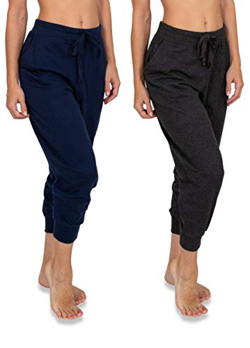 Sexy Basics Women's 2 Pack Soft French Terry Fleece Casual/Active Capri Jogger Sweatpants (2 Pack-...