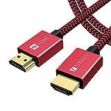 iVANKY Câble HDMI 2m 4K Ultra HD - Câble HDMI 2.0 en Nylon Tressé Supporte Ethernet/3D/Retour Audio - Prise HDMI pour Lecteur Blu-ray/Xbox/PS4/TV 4K Ultra HD/Ecran - Rouge