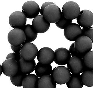 Sadingo - Perlas acrílicas (6 mm, 600 Unidades, Acabado Mate), plástico, Negro