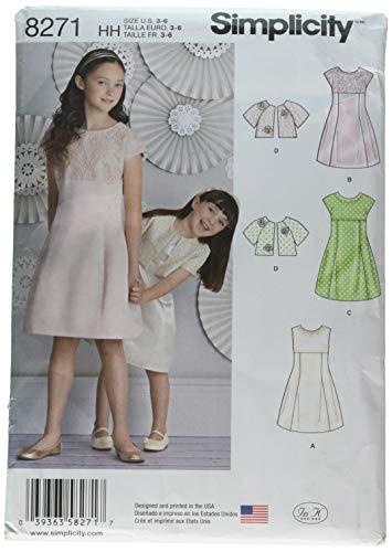 Simplicity patroon 8271 HH kinderen en meisjes jurk en jas snijpatroon, wit, maten 3-4 - 5-6