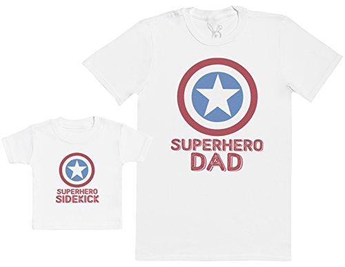 Superhero Sidekick - Regalo para Padres y bebés en un Camiseta para bebés y una Camiseta de Hombre a Juego - Blanco - L & 3-6 Meses