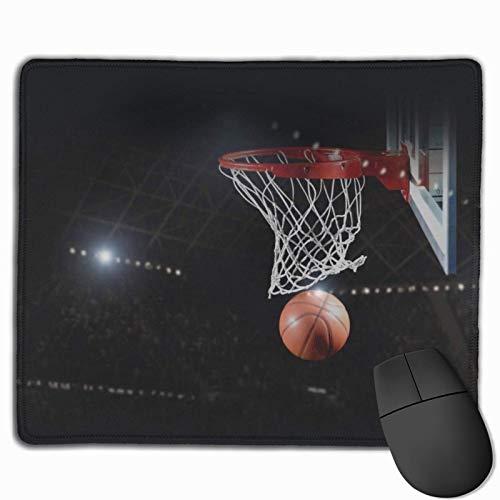 Alfombrilla de ratón Antideslizante para Juegos de Tiro de Baloncesto Alfombrilla de ratón con Bordes cosidos, 18x22cm