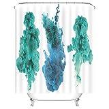Aeici Badvorhang Vintage Badvorhang Anti-Schimmel mit Ring,Blaugrüner Rauch Duschvorhang 120x180 cm Duschvorhang für Vorhangschiene Weiß